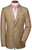 Charles Tyrwhitt Slim Fit Gold Checkered Luxury Wool Linen Wool Jacket Size 42 Long