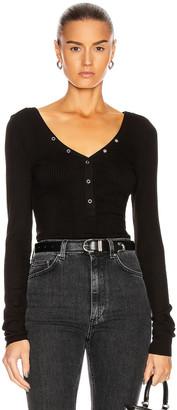 The Range Snap Deep V Long Sleeve Shirt in Black   FWRD