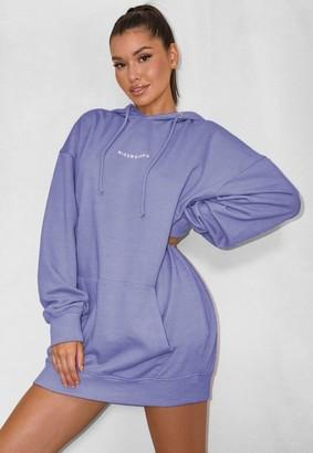 Missguided Blue Oversized Hooded Brushed Back Sweater Dress