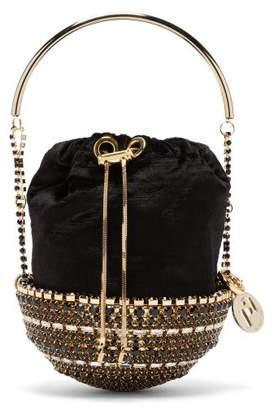 Rosantica Kingham Crystal-embellished Velvet Clutch Bag - Womens - Black