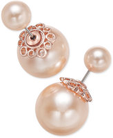 Charter Club Rose Gold-Tone Pink Imitation Pearl Front and Back Earrings, Only at Macy's
