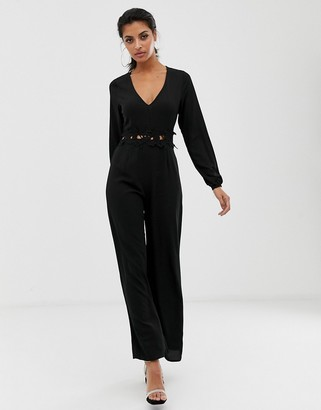AX Paris long sleeve jumpsuit with belt detail