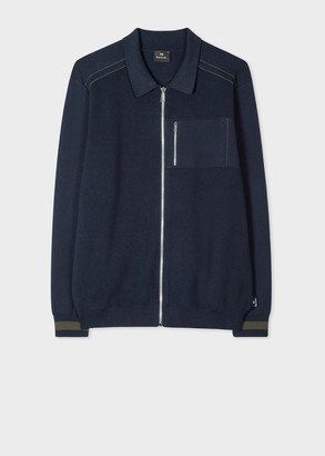 Paul Smith Men's Navy Collared Cotton Zip Cardigan
