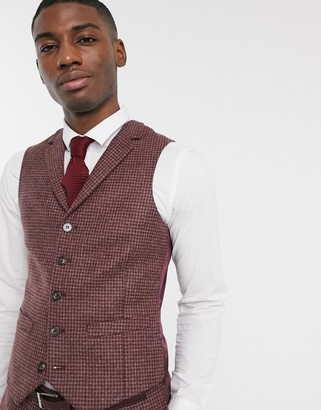 ASOS DESIGN slim suit waistcoat in burgundy and grey 100% lambswool puppytooth