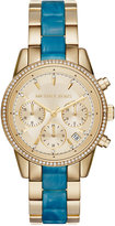 Michael Kors Women's Chronograph Ritz Two-Tone Stainless Steel and Acetate Bracelet Watch 37mm MK6328