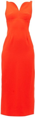 Emilia Wickstead Mathilda Sweetheart-neckline Crepe Midi Dress - Dark Orange