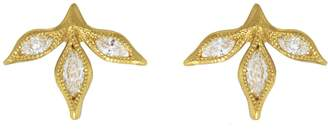 Cathy Waterman Three Marquise Diamond Leaf Stud Earrings - Yellow Gold