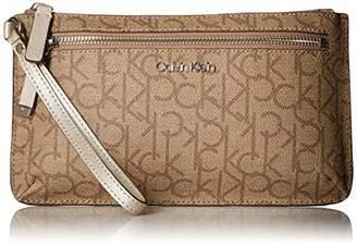 Calvin Klein Key Item Top Zip Monogram Wristlet Clutch