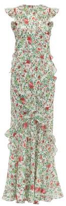 Saloni Tamara Floral-print Silk-chiffon Dress - Womens - White Multi