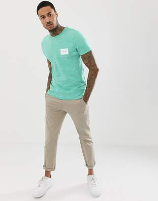 Calvin Klein box logo marl crew neck t-shirt in green