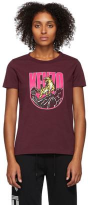 Kenzo Burgundy Logo Tiger Mountain T-Shirt