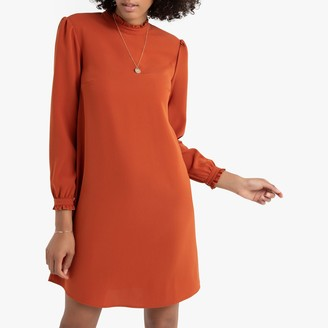 La Redoute Collections High Ruffled-Neck Shift Dress with Long Sleeves