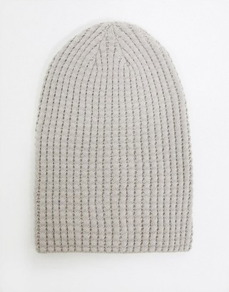 ASOS DESIGN slouchy beanie in grey waffle knit