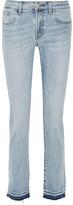 J Brand Amelia Frayed Mid-rise Slim-leg Jeans - Light denim