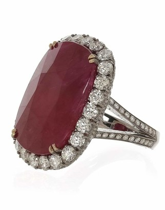 Fred Leighton Cushion Ruby and Diamond Ring