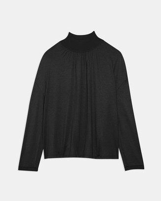 Theory Ribbed V-Neck Top in Silk Jersey