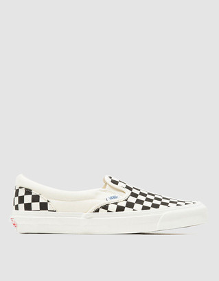 Vault by Vans Men's OG Classic Slip-On LX Check Shoes in Black/White, Size 12 | Textile/Rubber/Leather