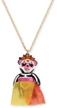"Betsey Johnson Gold-Tone Sugar Skull Bear Pendant Necklace, 28"" + 3"" extender"