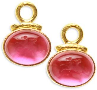 Elizabeth Locke Venetian Glass Intaglio 19K Yellow Gold & Pink Cabochon Equestrian Earring Pendants