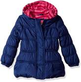 Pink Platinum Big Girls' Stripe Puffer with Hat and Scarf