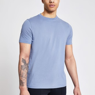 River Island Mens Blue short sleeve slim fit T-shirt