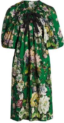 Dries Van Noten Off-The-Shoulder Floral Puff-Sleeve Dress