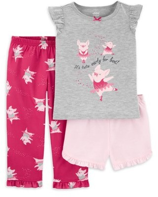 Carter's Child of Mine by Toddler Girl Short Sleeve Poly Pajamas, 3pc Set