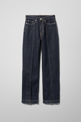 Weekday Rowe Extra High Straight Split Jeans - Blue