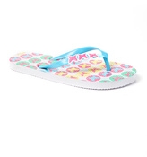 Turquoise & White Butterfly Flip-Flop