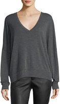 Vince Drop-Shoulder V-Neck Wool Pullover Sweater