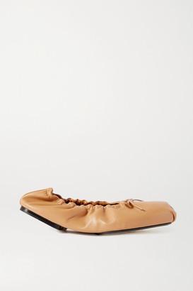 KHAITE Ashland Bow-embellished Leather Ballet Flats - Tan