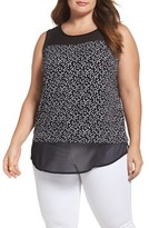 Vince Camuto Plus Size Women's Dotted Harmony Mixed Media Top
