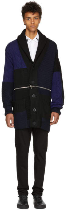 Alexander McQueen Navy and Black Punk Patchwork Knitted Cardigan