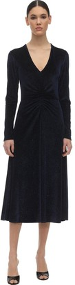 Rotate by Birger Christensen Crystal Embellished Velvet Midi Dress