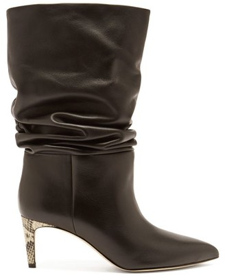 Paris Texas Slouchy Python-effect Leather Ankle Boots - Black