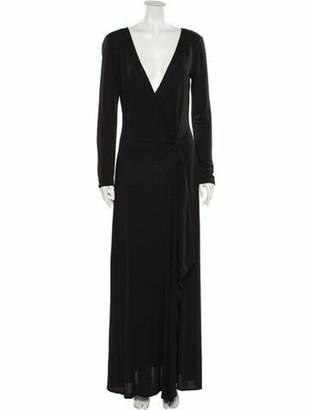 Celine V-Neck Long Dress Black