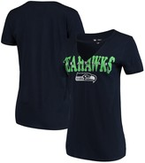 New Era Women's College Navy Seattle Seahawks Baby Jersey V-Neck Choker T-Shirt