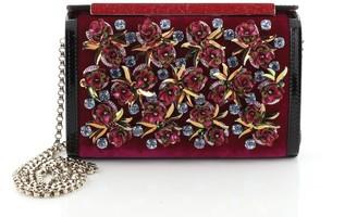 Christian Louboutin Vanite Clutch Velvet with Floral Applique Mini