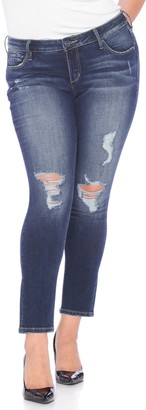SLINK Jeans Distressed Slim Fit Ankle Skinny Jeans (Plus Size)