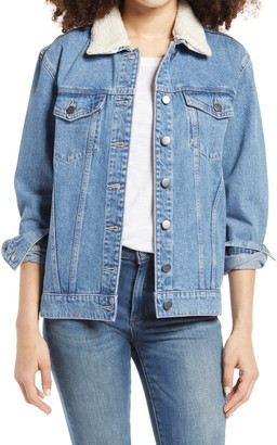 BP Denim Jacket with Removable Faux Shearling Collar