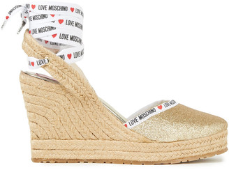 Love Moschino Monogram-trimmed Glittered Woven Espadrille Sandals