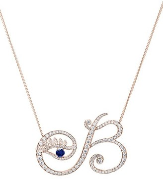 Tabayer Eye 18K Rose Gold, Sapphire & Diamond Beautiful Pendant Necklace