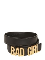 Moschino 35mm Bad Girl Leather Low Waist Belt