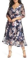 Komarov Plus Size Women's Charmeuse & Lace A-Line Dress