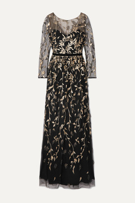 Marchesa Velvet-trimmed Embroidered Glittered Tulle Gown - Black