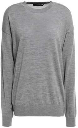 Alexander Wang Mesh-paneled Snap-detailed Merino Wool Sweater