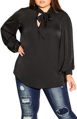 City Chic In Awe Tie Neck Blouse