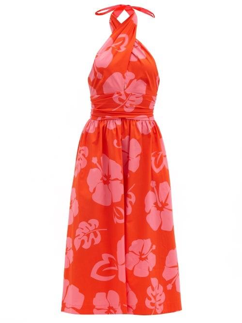 STAUD Moana Floral-print Cotton-blend Halterneck Dress - Red Print