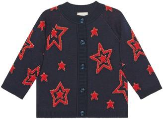 Gucci Children's star wool jacquard cardigan