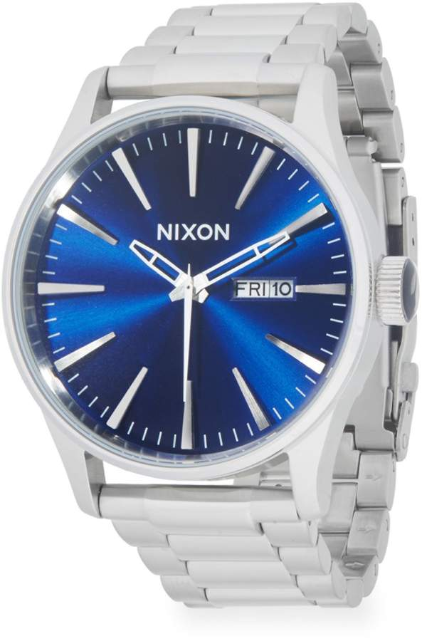 Nixon Stainless Steel & Leather-Strap Watch